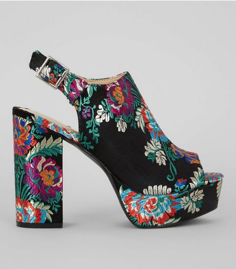 Black Floral Brocade Platform Heels | New Look