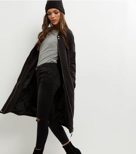 Black Drawstring Waist Longline Parka | New Look