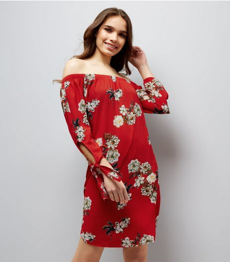 Cameo Rose Red Floral Print Bardot Dress | New Look