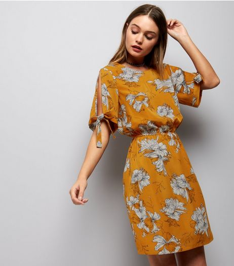 Cameo Rose Yellow Floral Print Tea Dress | New Look