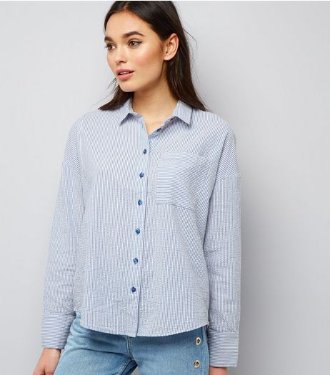 Blue Long Sleeve Oversized Shirt  | New Look