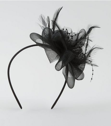 Black Net Feather Fascinator Hair Band | New Look