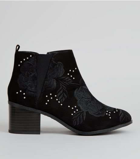 Wide Fit Black Stud Embroidered Boots | New Look
