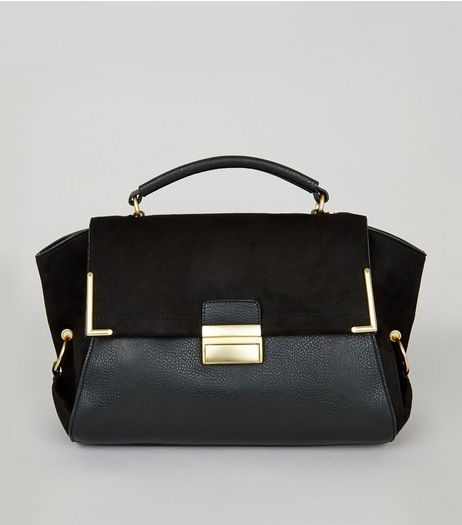 Black Suedette Panel Satchel | New Look