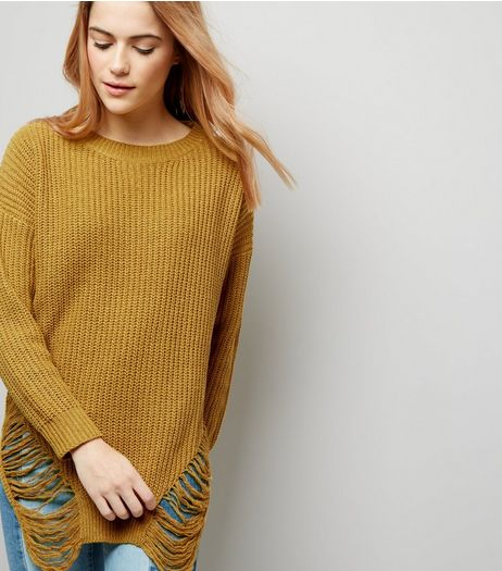 Cameo Rose Yellow Ladder Hem Long Sleeve Jumper  | New Look