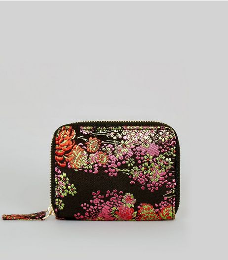 Black Satin Floral Brocade Cardholder | New Look