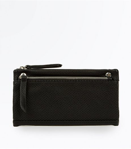 Black Perforated Slouchy Purse | New Look