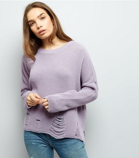 Tall Lilac Ladder Knit Hem Jumper | New Look