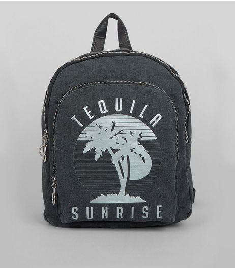 Grey Tequila Sunrise Printed Canvas Backpack | New Look