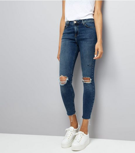 Blue Ripped Fray Hem Skinny Shaper Jeans  | New Look