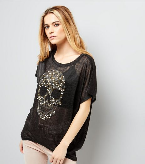 Blue Vanilla Black Studded Skull Print T-Shirt  | New Look