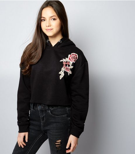 Teens Black Floral Embroidered Hoodie  | New Look