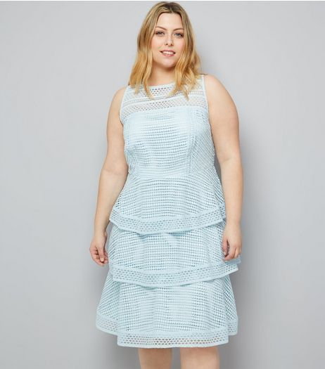 Curves Pale Blue Premium Tiered Lace Dress | New Look