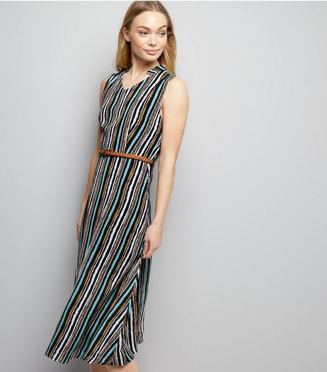 Mela Multicoloured Stripe Midi Dress  | New Look