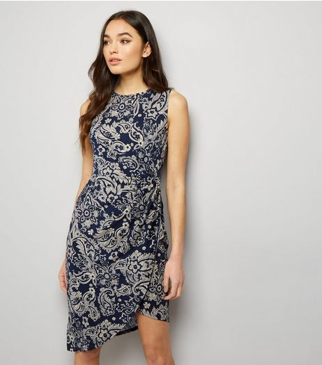 Mela Navy Paisley Print Ruched Side Dress  | New Look