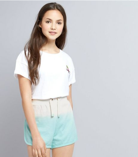 Teens Mint Green Dip Dye Jersey Shorts | New Look