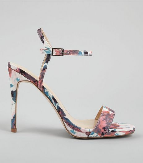 Pink Floral Print Heeled Sandals | New Look