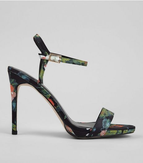 Black Floral Print Heeled Sandals | New Look
