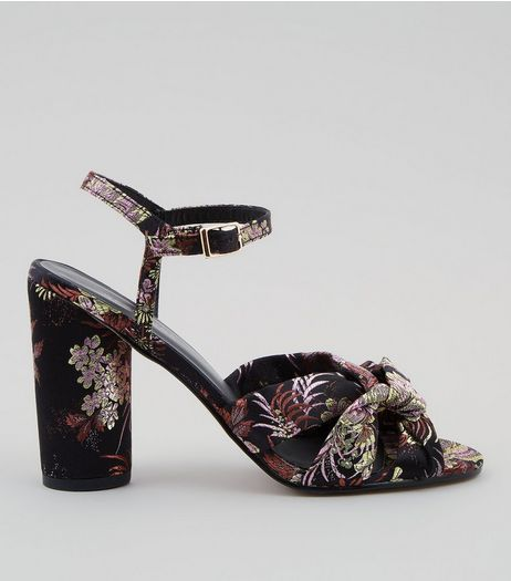 Black Floral Brocade Heeled Sandals | New Look