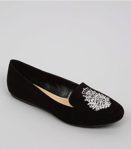 Black Suedette Metallic Embroidered Tab Slippers | New Look
