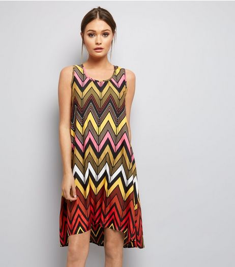Brave Soul Multicoloured Zigzag Print Dress  | New Look
