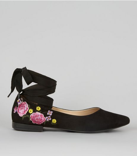 Black Suedette Floral Print Tie Up Ballet Pumps | New Look