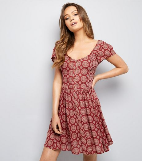 Brave Soul Red Abstract Print Tunic Dress  | New Look
