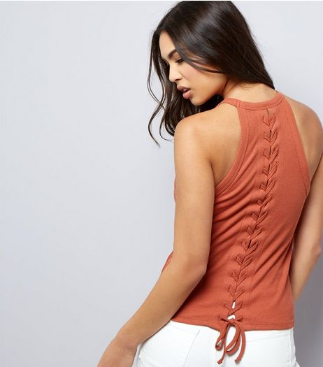 Brown Lace Back Vest  | New Look