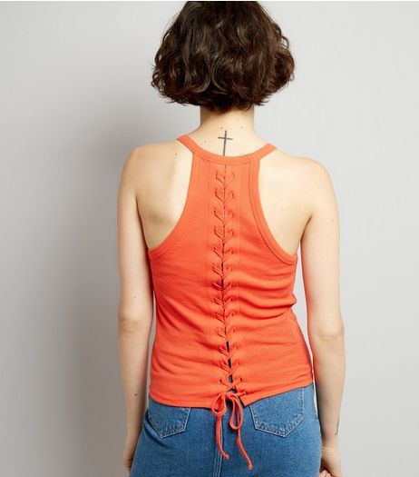 Orange Lace Back Vest | New Look
