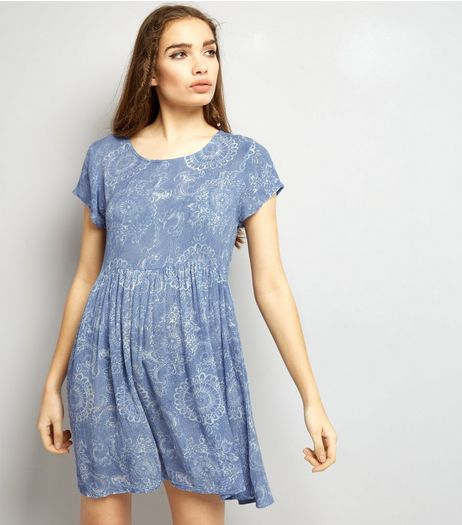 Brave Soul Pale Blue Abstract Print Smock Dress  | New Look