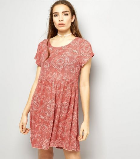 Brave Soul Pink Abstract Print Smock Dress  | New Look