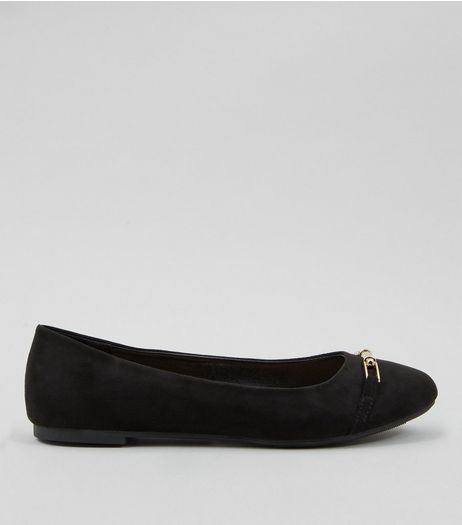 Black Suedette Metal Trim Ballet Pumps | New Look
