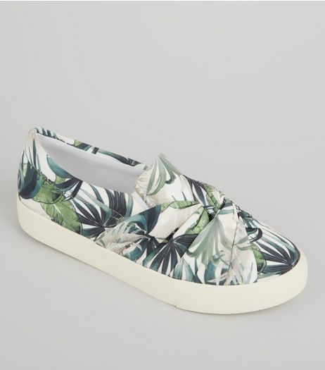 Cream Palm Print Knot Front Canvas Plimsolls | New Look