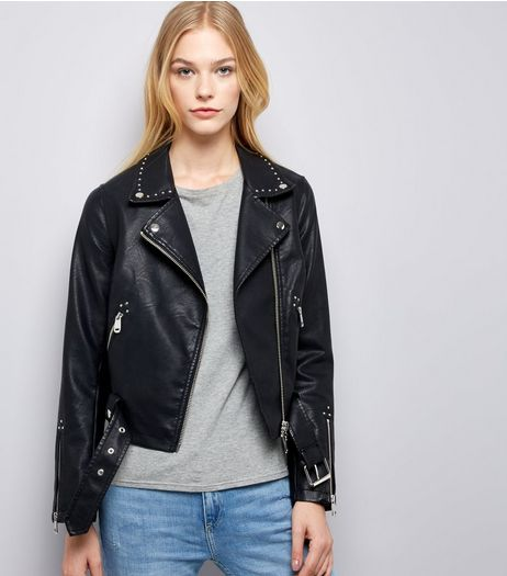 Black Studded Leather-Look Biker Jacket | New Look