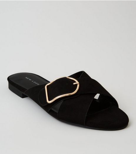 Black Suedette Cross Buckle Strap Mules | New Look
