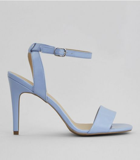 Blue Patent Ankle Strap Heels | New Look
