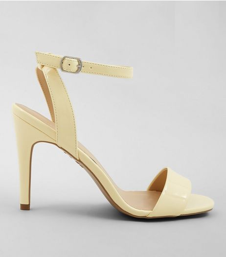 Yellow Patent Ankle Strap Heels | New Look