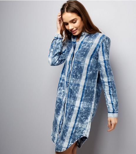Blue Vanilla Blue Tie Dye Check Longline Shirt  | New Look