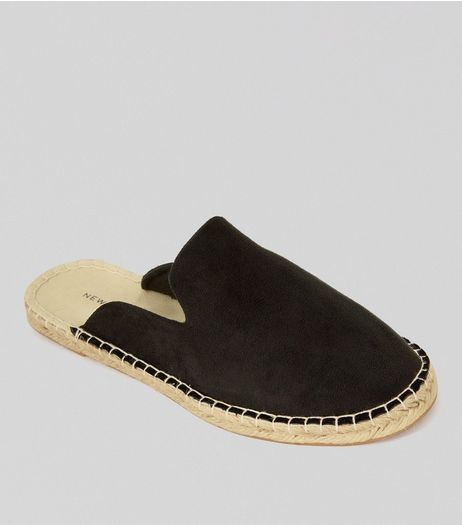 Black Suedette Espadrille Mules | New Look