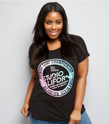 Curves Black Fluorescent Surf Logo T-Shirt | New Look