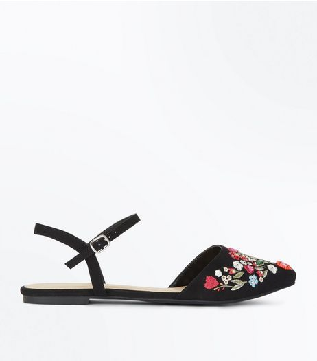 Black Floral Embellished Pointed Pumps | New Look