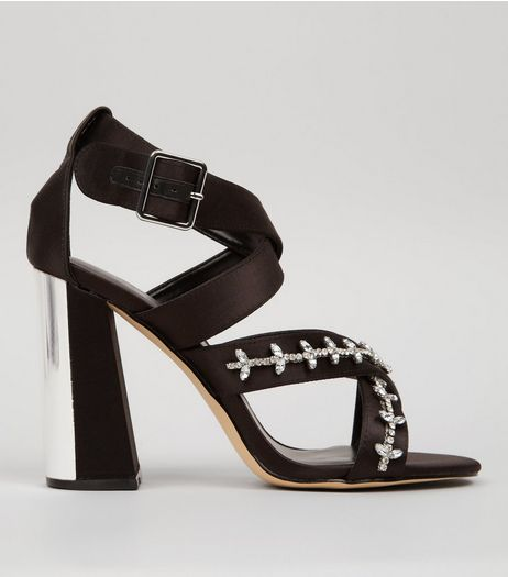 Black Satin Embellished Cross Strap Heeled Sandals | New Look