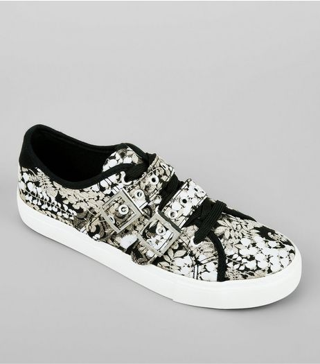 Black Floral Print Satin Buckle Lace Up Trainers | New Look