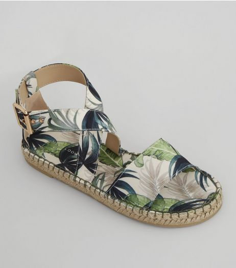 Green Palm Print Espadrille Sandals | New Look