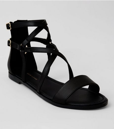 Black Zip Back Gladiator Sandals | New Look