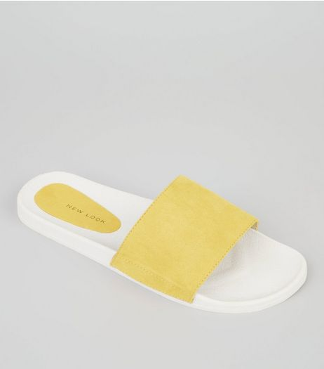 Yellow Suedette Pool Sliders | New Look