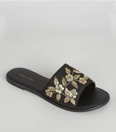 Black Satin Floral Embroidered Mules | New Look