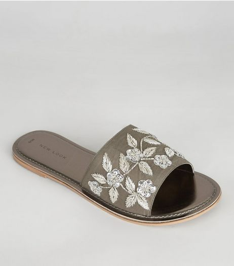 Pewter Floral Embroidered Mules | New Look