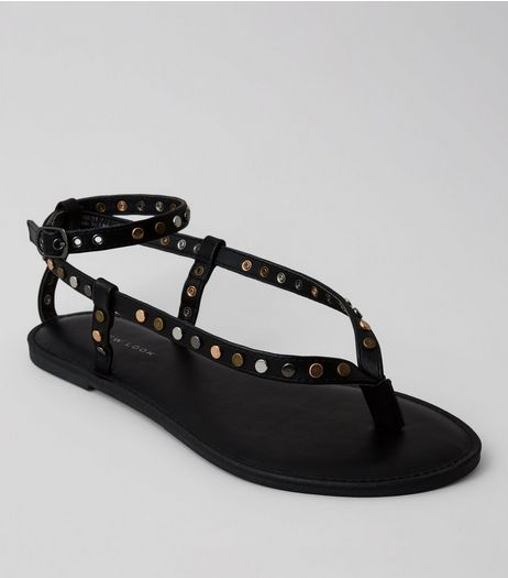Black Stud Toe Post Sandals | New Look