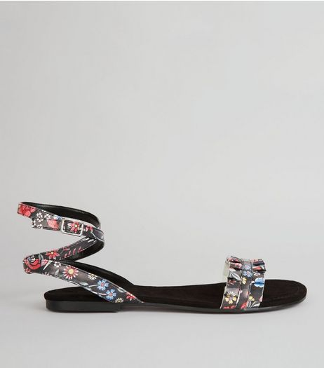Black Floral Print Frill Strap Detail Sandals | New Look